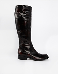 Gardenia Leather Flat Knee High Boots Polidobordeaux