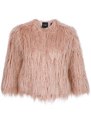 Theory Synthetic Fur Coat Pink Purple