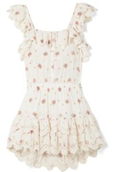 Loveshackfancy Marina Embroidered Floral Print Broderie Anglaise Cotton Voile Mini Dress Cream