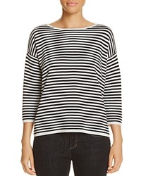 Eileen Fisher Striped Boat Neck Sweater Black Nebel