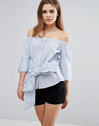 Influence Tie Front Bardot Top Blue