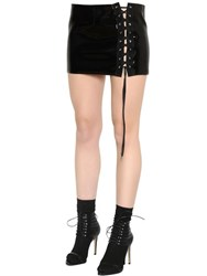 Anthony Vaccarello Lace Up Vinyl Mini Skirt
