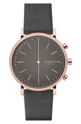 Skagen Women's Hald Hybrid Leather Strap Smart Watch 40Mm Grey Rose Gold