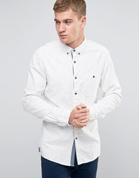 Esprit Cotton Shirt With Fleck In Regular Fit White