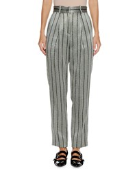 Emporio Armani High Waist Straight Leg Striped Satin Trousers Gray