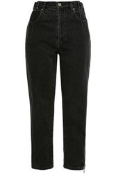 3.1 Phillip Lim Woman Cropped Faded High Rise Straight Leg Jeans Charcoal