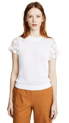 M.Patmos Floral Crochet Tee White