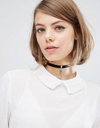 Child Of Wild Feather Charm Choker Silver Black