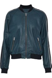 Veda Champion Striped Leather Bomber Jacket Petrol