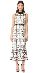 Marchesa Sleeveless Floral Gown Black White