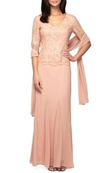Women's Alex Evenings Embroidered Chiffon Gown With Shawl