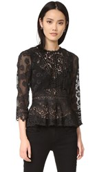 Rebecca Taylor Long Sleeve Lace Mix Top Black