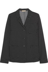 Michael Kors Collection Polka Dot Satin Crepe Shirt Black