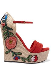 Gucci Appliqued Suede Wedge Espadrille Sandals Red