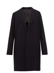 The Row Lucas Single Breasted Wool Overcoat Navy