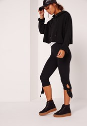 Missguided Cropped Tie Knee Leggings Black Black