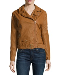 Bagatelle Pebbled Faux Leather Jacket Tan