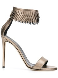 Grey Mer Fringed Ankle Strap Sandals Metallic