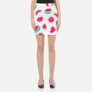 Love Moschino Women's All Over Heart Watermelon Print Skirt With Logo White Watermelon