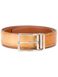 Santoni Rectangular Bluckle Belt Brown