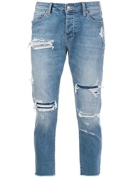 Neuw Distressed Cropped Jeans Blue