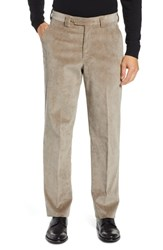 Berle Classic Fit Flat Front Corduroy Trousers Tan