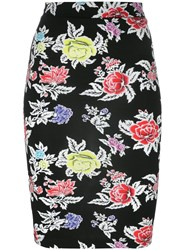 House Of Holland Rose Print Pencil Skirt Black