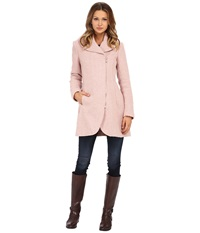 Jessica Simpson Asymmetrical Braided Wool Coat With Shawl Collar Rose Women's Coat Pink