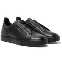 Ermenegildo Zegna Triple Stitch Full Grain Leather Slip On Sneakers Black