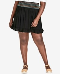 City Chic Trendy Plus Size Embroidered Ruffled Skirt Black