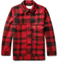 Filson Mackinaw Crusier Checked Virgin Wool Shirt Jacket Red