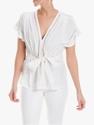 Max Studio Frill Sleeve Textured Top White