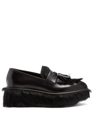 Prada Fur And Leather Flatform Loafers Black