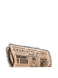 Charlotte Olympia Gazette Embroidered Satin Clutch Black Nude