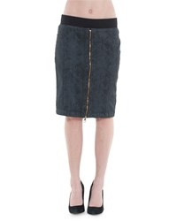 Xcvi Olga Snake Print Zip Front Pencil Skirt Black
