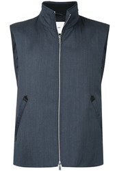 Cerruti 1881 Zipped Gilet Jacket Wool Blue