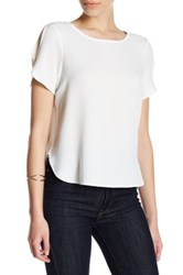 14Th And Union Cold Shoulder Short Sleeve Tee Petite White