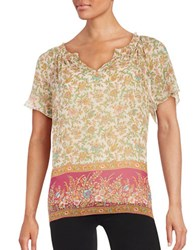 Lucky Brand Floral Print Short Sleeve Top Pink Multi