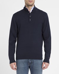 Tommy Hilfiger Navy Buttoned Collar Cotton Sweater Blue