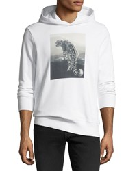 Ovadia And Sons Snow Leopard Graphic Hoodie White