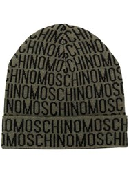 Moschino All Over Logo Beanie Green