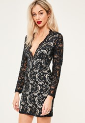 Missguided Navy Lace Plunge Scallop Bodycon Dress