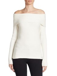 Armani Jeans Off The Shoulder Wool Sweater Off White