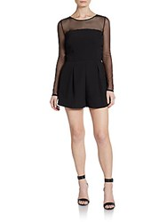 Saks Fifth Avenue Red Mesh Illusion Short Jumpsuit Black