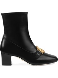 Gucci Double G Leather Ankle Boots Black