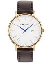 Kenneth Cole Men's Brown Leather Strap Watch 42Mm Kc15059005 Gold