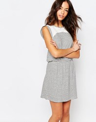 Esprit Lace Insert Stripe Dress White
