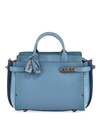 Coach Swagger Mixed Leather Satchel Bag Chambray