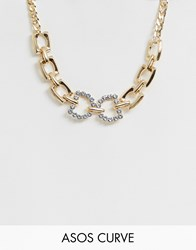 Asos Design Curve Necklace With Crystal Link Pendant And Glam Chain In Gold Tone