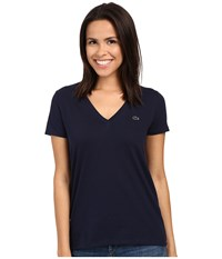 Lacoste Short Sleeve Cotton Jersey V Neck Tee Shirt Navy Blue Women's Short Sleeve Pullover